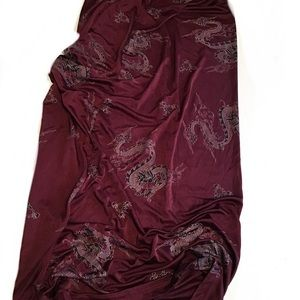Vintage 90s Burgundy Dragon Print Maxi Skirt